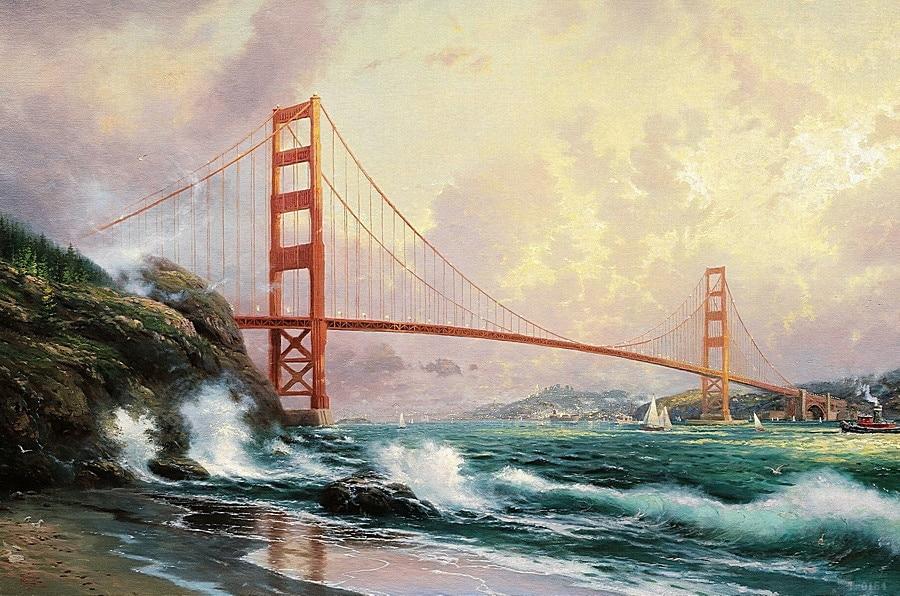 Thomas Kinkade Golden Gate Bridge San Francisco Victorian