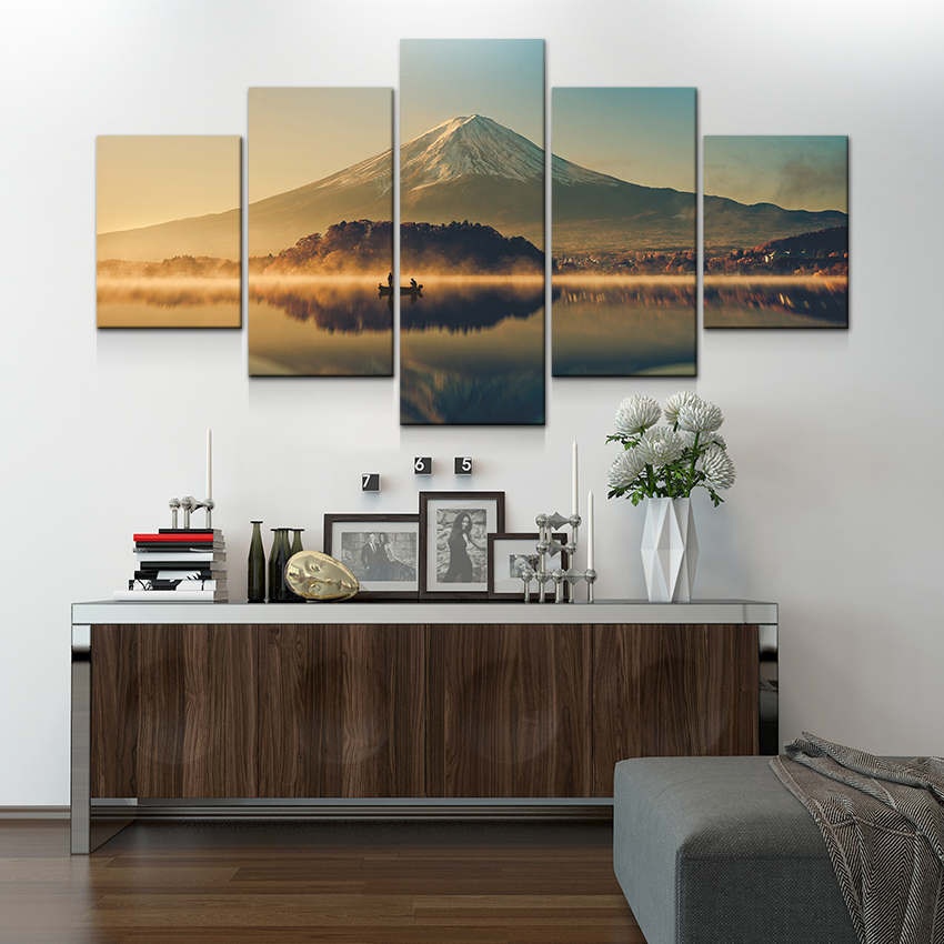 Artryst large canvas wall art 5 panel modern painting and prints artryst large canvas wall art 5 panel modern painting and prints fuji mountain peaceful lake landscape japanese picture set in painting calligraphy from teraionfo