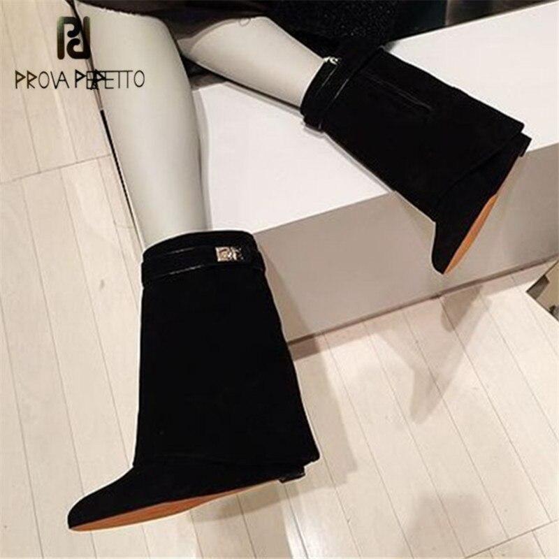 Prova Perfetto Shark Lock Women Mid Calf Wedge Boots Fold Over High Boot Female Pointed Toe Martin Boots Wedges Bota Feminina stylish buckles and fold over design women s mid claf boots