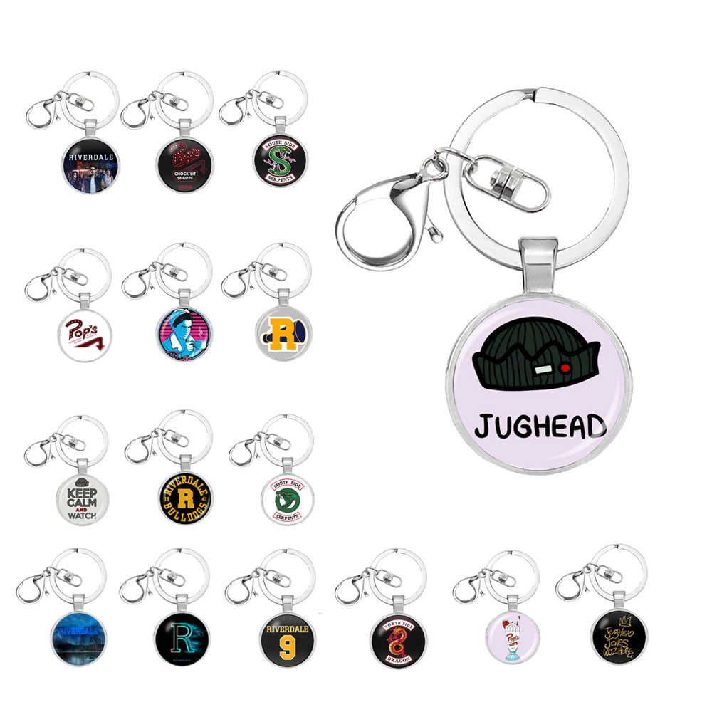 Hot Riverdale keychain Glass Cabochon key Chains Couple Necklaces Pendants Women Men Jewelry Avengers thanos Christmas gift