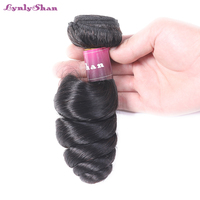 Lynlyshan Remy Hair Loose Wave 100% Malaysian Human Hair Weave Bundles 1 Pice Human Hair Weave Weft Natural Color