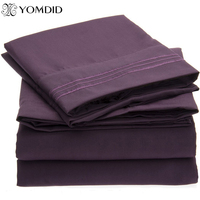 Solid color Bedding Set Flat sheet Fitted sheet Pillowcase 4pcs US Twin Full Queen King California King Brief style Bed linens