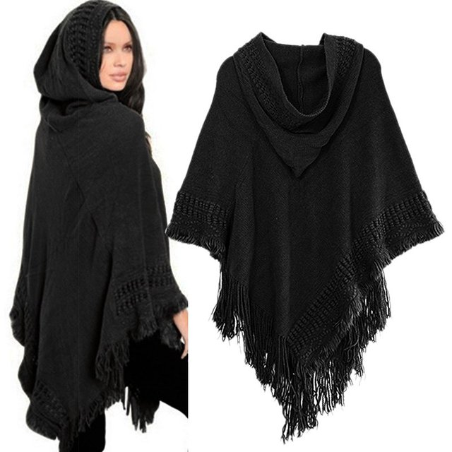 Women Cloak Hooded Sweaters Knit Batwing Top Poncho With Hood Cape