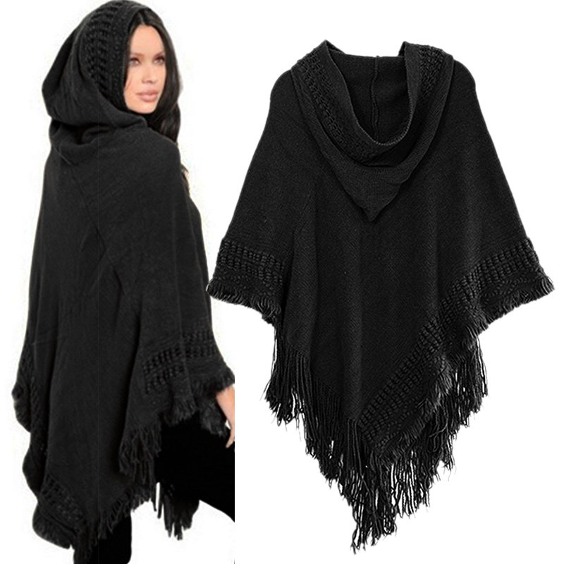 Women Cloak Hooded Sweaters Knit Batwing Top Poncho With Hood Cape Coat Tassel Sweater Outwear