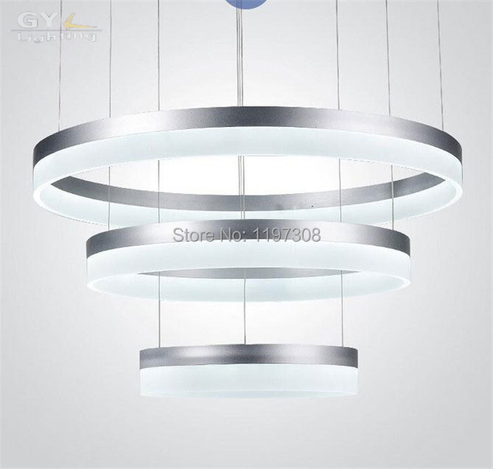 ФОТО Modern Acrylic LED chandelier Lamp 1/2/3 Rings Hanging Lights For Indoor Home Deco with LED Source industrial home lustres lamp