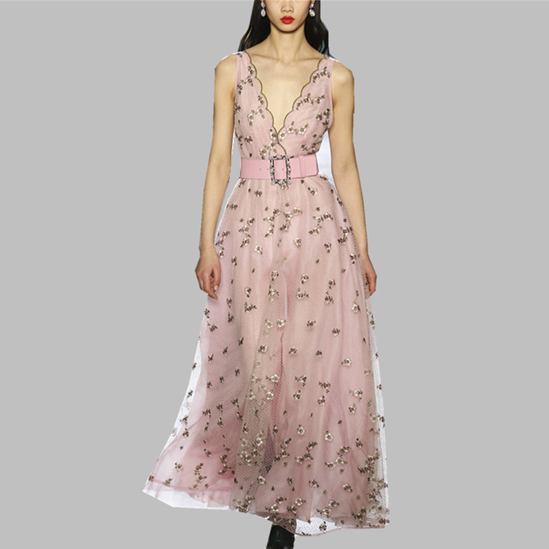 Spring Summer Sleeveless Long Party <font><b>Dress</b></font> 2019 Runway Women's Pink Mesh Embroidery Halter <font><b>Dresses</b></font> <font><b>Sexy</b></font> <font><b>V</b></font> <font><b>Neck</b></font> <font><b>Dress</b></font> With Belt image