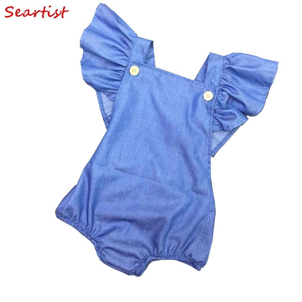Seartist Baby Girls Denim Romper Newborn Summer Jumpsuit Girl Spring Cotton Ruffle Sleeve Romper Toddler Plain Color Jumper 32