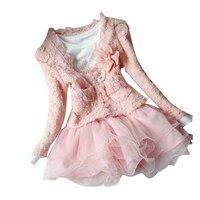 2015 New Dress Jacket Beautiful Girl Cardigan And Diamante Dress Tutu Children 2 7 Years Dress