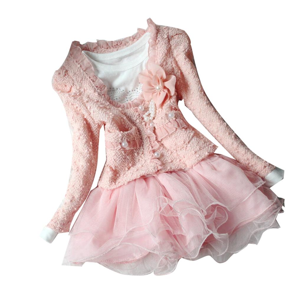 2018 New Autumn Winter Girl Dress Floral Children`s Dress Kids Dresses For Girls 2Pc/set Coat+Dress Toddler Girl Clothes kids girls dresses 2018 new winter solid