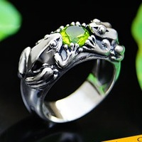 Ring female oriental vibrations925 pure silver green gem frog lucky frog ring