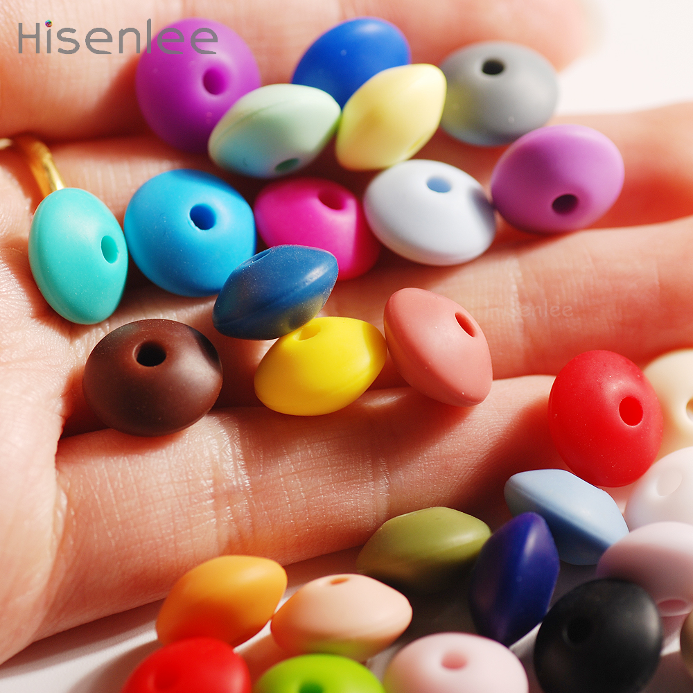 Hisenlee 100pcs Lentil Shape Food Grade Silicone 12mm Loose Beads Baby Teething Chewing Dental Nursing Beads Jewelry DIY