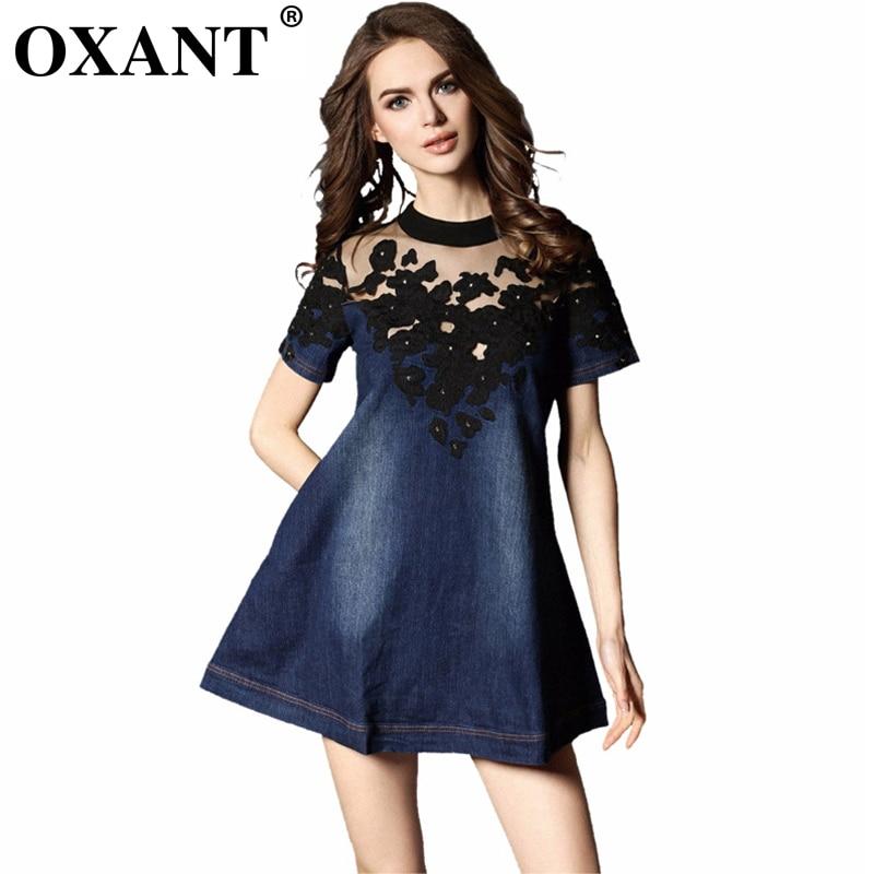 OXANT New Fashion Europe Dámská letní Plus Vestidos krajka Sexy perspektiva Výšivka Patchwork Ženy Mini Denim Šaty 4X XD10