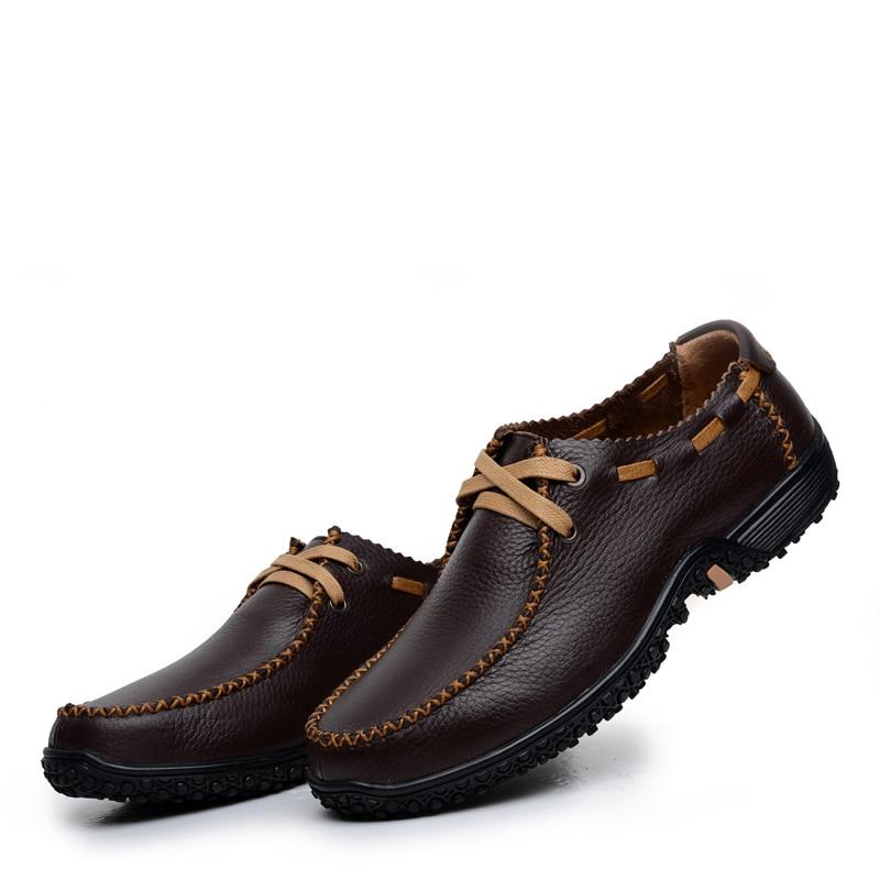 Slip Primavera Lace Planos Cuero Black Mocasines Up Zapatos Hombre Up Y brown Casuales Para De Genuino black Otoño brown Clásico On Los 26d50 Hombres On nw14aYqY