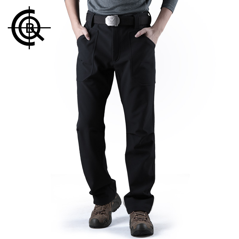 CQB Outdoor Pants Tactical Water Repellent Softshell Fleece Pants Men Thermal  Thicken Wear-resisting Trousers LYF013