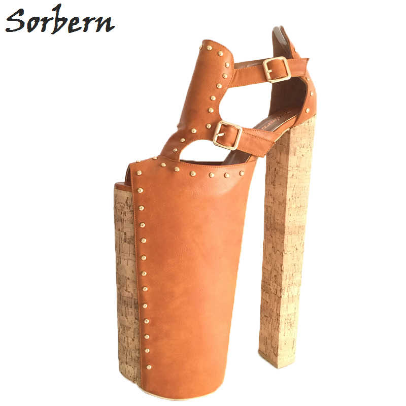 4c35ceff553 ... Sorbern DIY Thick Heels Women Sandals Shoes Size 14 Chunky Heels 35cm  Platform 25cm Shoes Ladies ...
