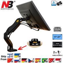 """Nb f80 u desktop mola de gás 17 27 """"lcd led monitor titular montar braço com dois usb 3.0 movimento total display carrinho de carregamento 2 6.5kgs"""