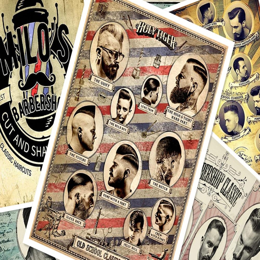 Hair salon tattoo posters wall sticker 30X42 CM nostalgia retro kraft paper HD Inkjet printing art barber shop decoration A statue