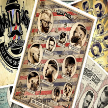 Hair salon tattoo posters wall sticker 30X42 CM nostalgia retro kraft paper HD Inkjet printing art barber shop decoration A(China)