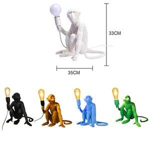 Image 3 - Moderno 7 cor macaco lâmpada corda led pingente luzes do quarto lâmpada réplicas resina lustre arte deco pendurado luminária