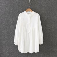 Plus size mandarin collar long sleeve loose blouses women 2018 solid white Jacquard cotton shirt Spring & autumn ladies tops 4XL