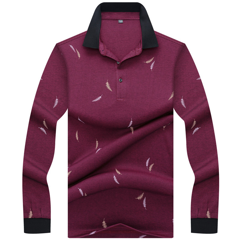 Mens   Polo   Shirt Brands 2018 Male Long Sleeve Smart Business Feather Printed   Polos   Men 3XL