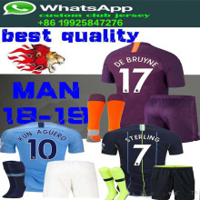 72ac53cf7 sales 2019 Top Best Qualit Manchesteer CITYS Adult suit + socks Soccer  jersey 18 19 Home
