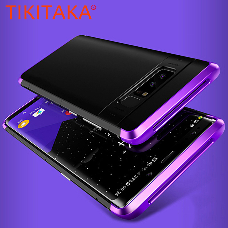 For Samsung Galaxy Note 8 Case Luxury Slim Metal Aluminum Protective Bumper + Hard PC Cover 3 in 1 Shockproof Armor Phone Cases