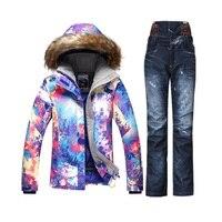 Gsou SNOW горнолыжный костюм женский,сноуборд,Теплый, лыжи,лыжный костюм женский,водонепроницаемый, женский зимний горнолыжный костюм , женски