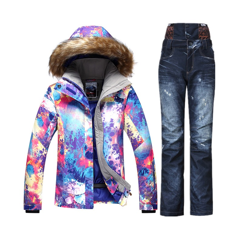 Gsou hiver montagne ski costume de ski pas cher costume femelle ensemble de neige veste de ski femme snowboard veste femmes denim pantalon de ski