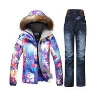 Gsou winter mountain skiing suit cheap ski suit female snow set veste ski femme snowboard jacket women denim ski pants