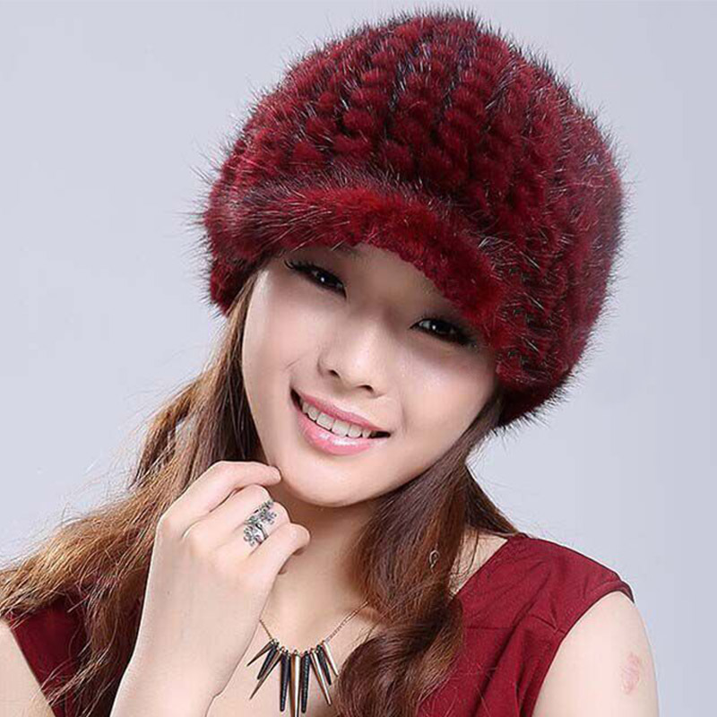 Detail Feedback Questions about Women Real Fur Visors Hats Gorros feminino  inverno Knitted Red Black Russian Hat Female Caps Winter Sombreros mujer  Women s ... 01a65cbd5e8