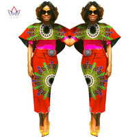 BRW Plus Size Africa Wax Print Dashiki Cloak Top Skirt for Women Bazin Riche Tradition African Cloth Evening Top Skirt Set WY802