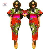BRW Plus Size Africa Wax Print Dashiki Cloak Top Skirt for Women Bazin Riche Tradition African Cloth Evening Top Skirt Set WY802
