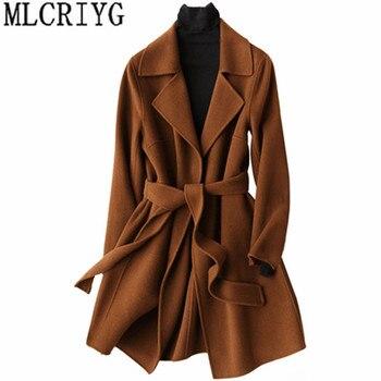 Double-side Wool Coat Female Autumn Winter Coat Women 2019 Korean Long Cashmere Women's Coats Jacket Belt casaco feminino YQ045