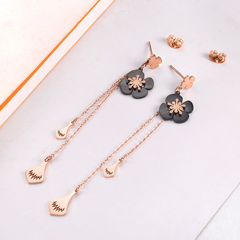 Stainless Steel Drop Earrings for Women Rose Gold Dangle Earring Collier Femme Jewelry in Drop Earrings from Jewelry Accessories