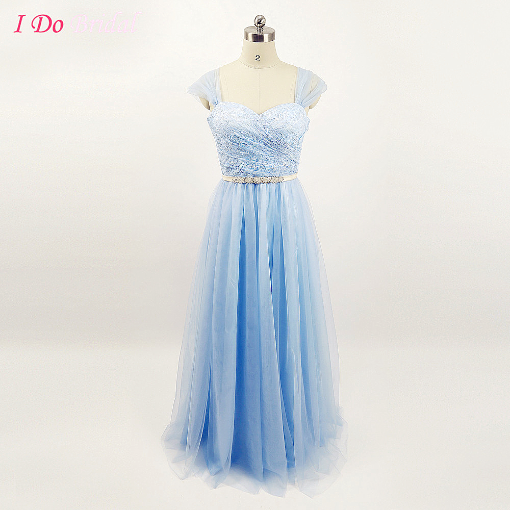 Light ice blue tulle bridesmaid dresses lace top women country light ice blue tulle bridesmaid dresses lace top women country long wedding guest gowns beaded sash cap sleeve china g67 in bridesmaid dresses from weddings ombrellifo Image collections