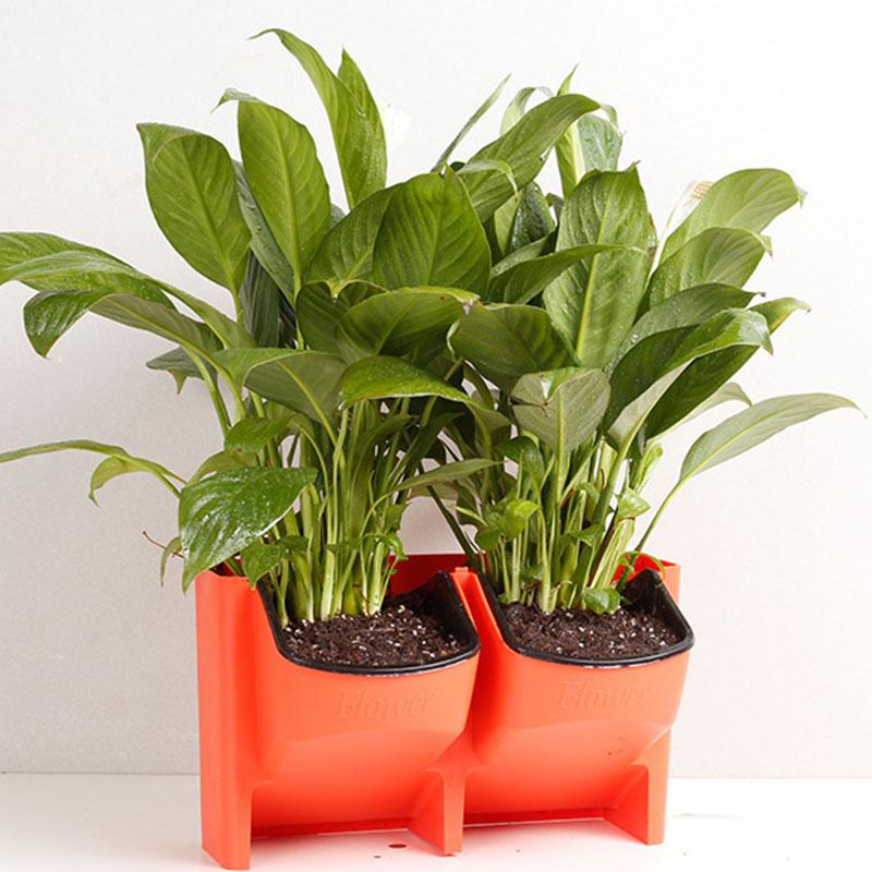SOLEDI пластиковый цветочный горшок для растений, настенный садовый подвесной Штабелируемый садовый инвентарь, садовые ограждения, домашний декор - Цвет: Красный