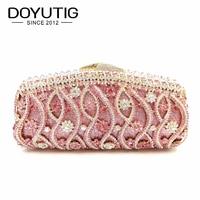 New Women's Pink Crystal Evening Bag Retro Beaded Clutch Bags Wedding Diamond Beaded Bag Rhinestone Small Shoulder Bags A134