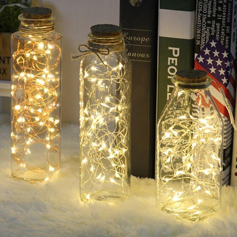 Xsky Christmas Light 1M/2M Copper Fairy String Light Decoration Lamp Guirlande Lumineuse For Home Wedding CR2032 Battery Powered