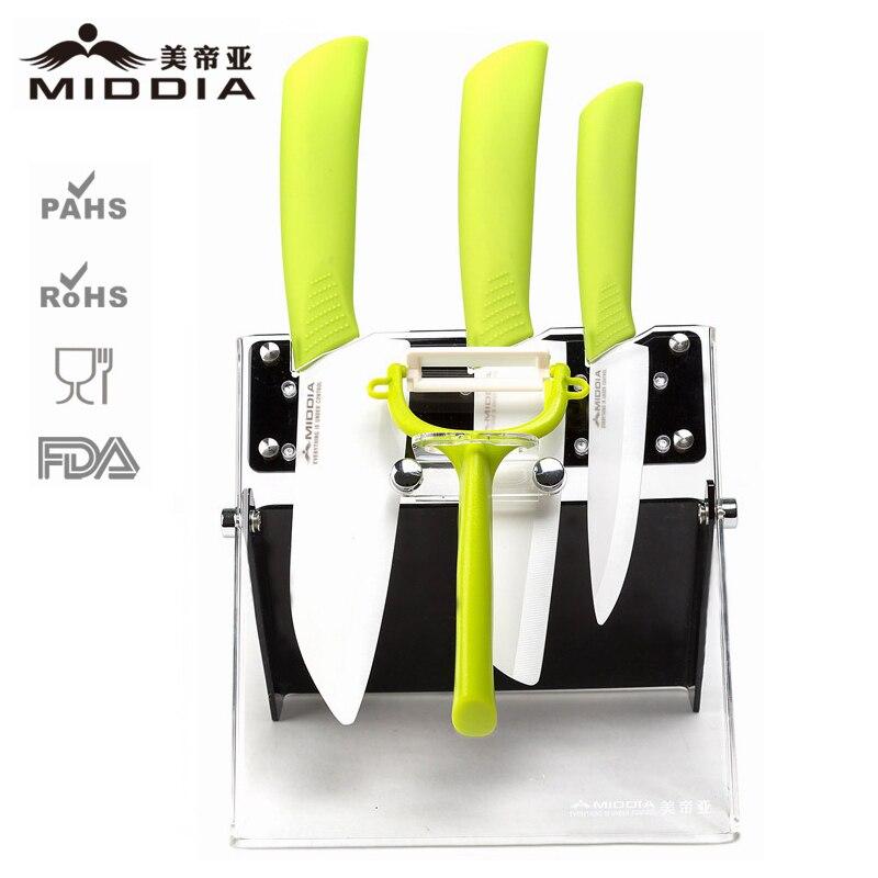 Middia 5pcs ceramic font b knife b font set with block ceramic paring font b knife