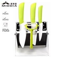 Middia 5pcs ceramic knife set with block ceramic paring knife santoku ceramic knife utility knife