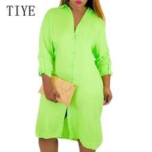 TIYE Fashion Long Sleeve Turn-neck Losse Dresses Roupas Feminina New Arrival Casual Button Autumn Dress for Women Plus Size XXL