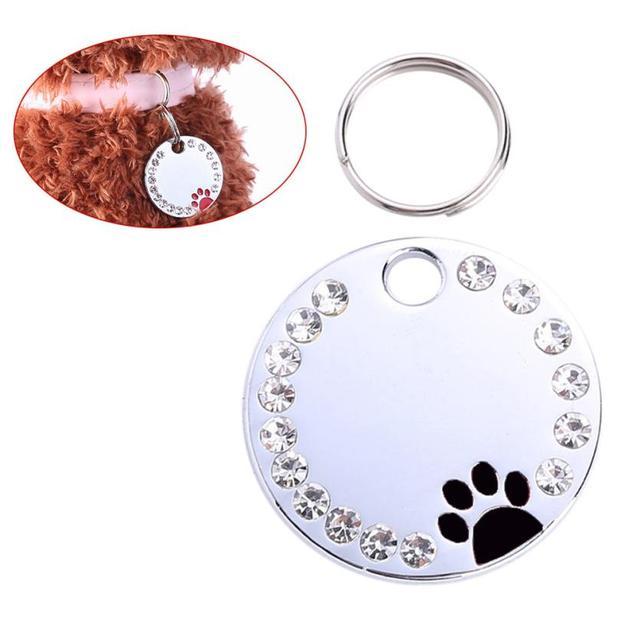 Carino Diamante Zampa Dog Cat ID Nome Tags Pet Collana Dei Monili gatti prodotti