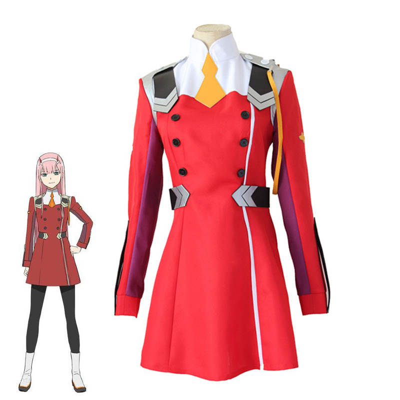 Anime DARLING in the FRANXX 02 Zero Two Women Dress Cosplay Costume CODE 002 Halloween Party Role Play Uniform