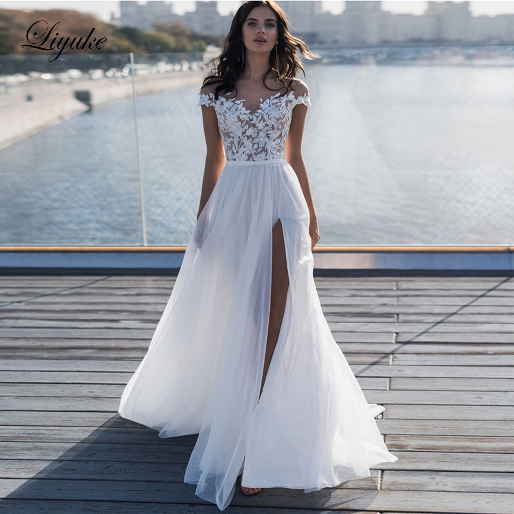 Wedding Dress White Vs Off White: Liyuke Simple Off White Color Beach Wedding Dress With
