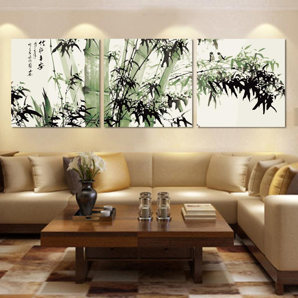 Bamboo Canvas Wall Art Landscape Painting 3 Pieces Large