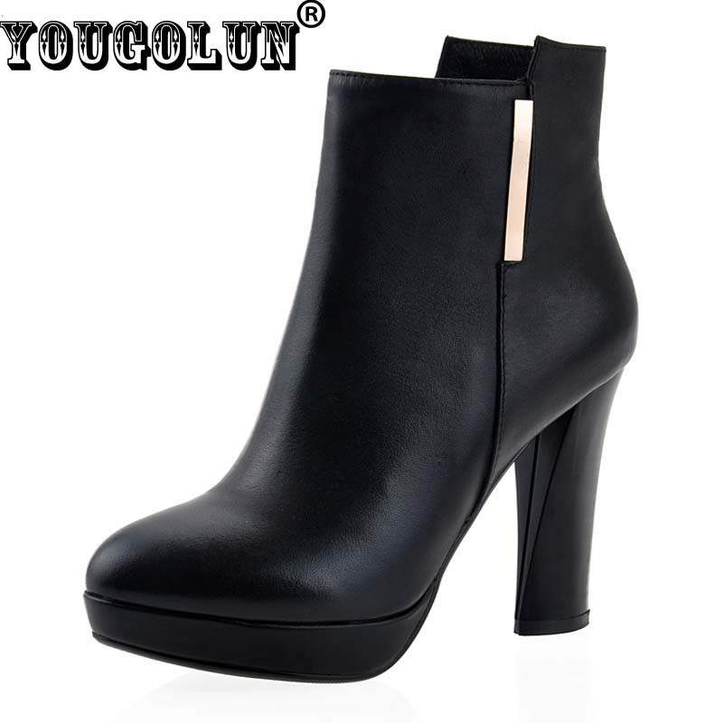winter genuine leather ankle boots high heels