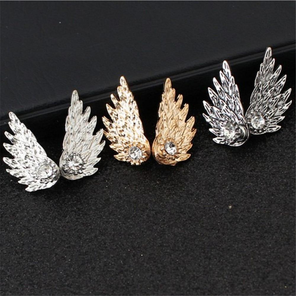 ECODAY Vintage Earrings Angel Wings Crystal Stud Earrings for Women Brincos Earings Fashion Jewelry Piercing Earrings in Stud Earrings from Jewelry Accessories