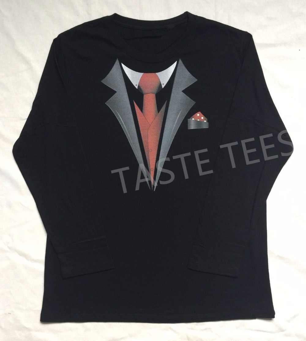 f62a0778 ... New Tuxedo Fancy Men T Shirt Print Stag Party Tux Longsleeve O Neck Man  Tshirt Top ...