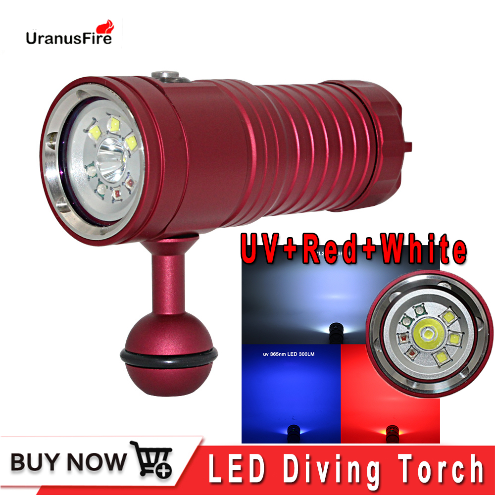 New LED Diving Flashlight Underwater 80M XM L2 Photography Video Camera Tactical Flashlight UV White Red